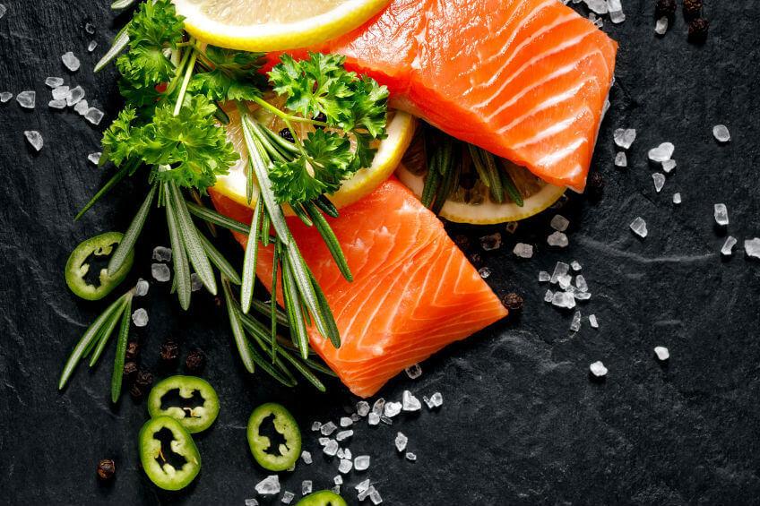 fresh salmon, herbs and salt