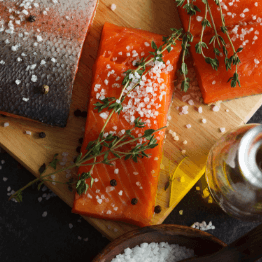 salmon fillet seasoned with salt