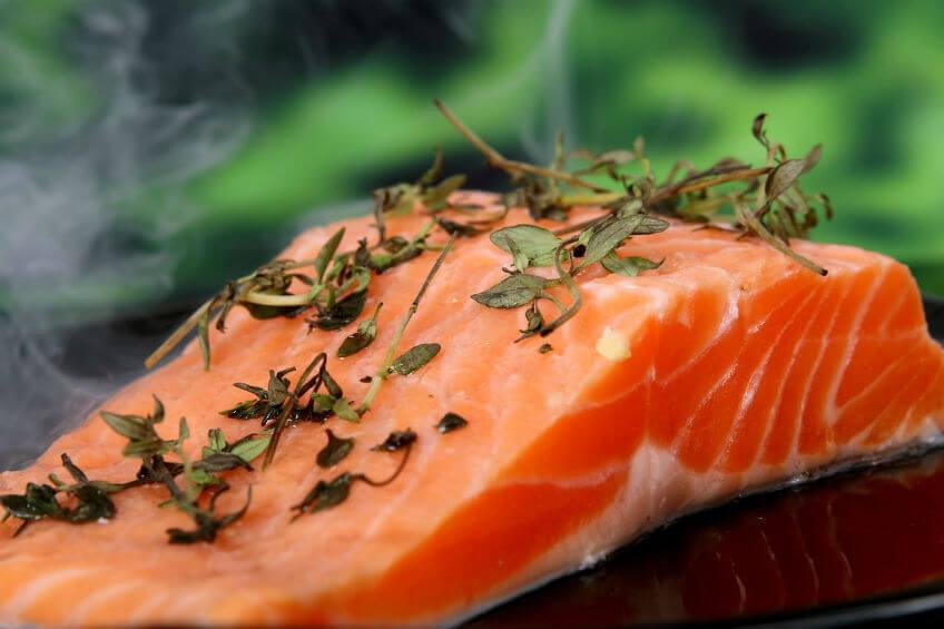 fresh salmon slice seasoned with herbs