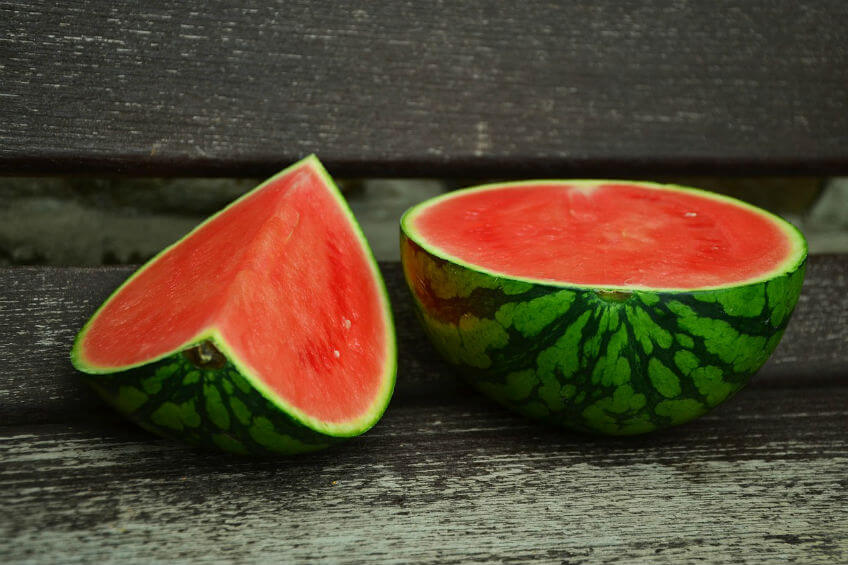 water melon cut in two